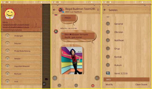 BBM MOD Tema Kayu (Wood Theme) APK Based v3.2.0.6